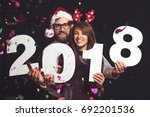 young couple in love having fun ... | Shutterstock . vector #692201536