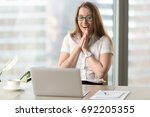 happy businesswoman laughing... | Shutterstock . vector #692205355