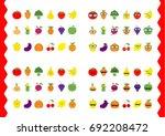fruit berry vegetable face icon ... | Shutterstock . vector #692208472