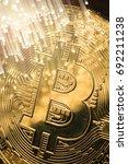 bitcoin with fibre optics light | Shutterstock . vector #692211238