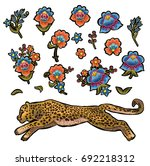 leopard with flowers. vector... | Shutterstock .eps vector #692218312