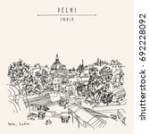 delhi  india. hand drawn sketch ... | Shutterstock .eps vector #692228092