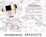 Stock vector cosmetic ads template cosmetic cream on white petals 692231272