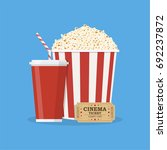 popcorn striped bucket with cup ... | Shutterstock .eps vector #692237872