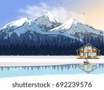 Winter Landscape. A Wooden...