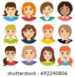 set of cartoon characters girls.... | Shutterstock .eps vector #692240806