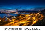 tsing ma bridge link between... | Shutterstock . vector #692252212