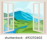 open window with a landscape... | Shutterstock .eps vector #692252602