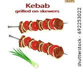 kebab with spices. grilled meat ... | Shutterstock .eps vector #692253022