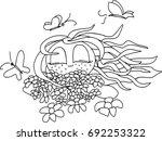 my happy summer  girl with... | Shutterstock .eps vector #692253322