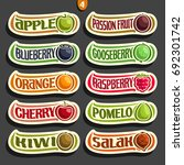 vector set of colorful fruits... | Shutterstock .eps vector #692301742