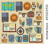 vector doodle set with travel... | Shutterstock .eps vector #692321932