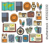 vector doodle set with travel... | Shutterstock .eps vector #692322232