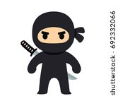cartoon ninja drawing in chibi... | Shutterstock .eps vector #692332066