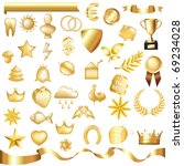 collection of gold elements ...