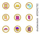 books icons set. cartoon set of ...