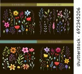 floral watercolor collection... | Shutterstock .eps vector #692345206