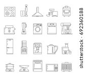 kitchen technology linear icons.... | Shutterstock .eps vector #692360188