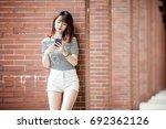 young beautiful girl in...   Shutterstock . vector #692362126