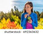 happy healthy eating girl... | Shutterstock . vector #692363632