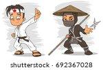 cartoon karate boy and masked... | Shutterstock .eps vector #692367028