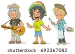 cartoon hippie with guitar... | Shutterstock .eps vector #692367082