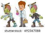 cartoon walking zombie with axe ... | Shutterstock .eps vector #692367088