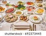 restaurant table  many... | Shutterstock . vector #692373445