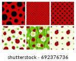 ladybug patterns set. vector... | Shutterstock .eps vector #692376736
