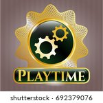 shiny emblem with gear  team... | Shutterstock .eps vector #692379076