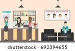 reception at office. visitors... | Shutterstock . vector #692394655