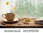 cup of autumn tea  coffee ... | Shutterstock . vector #692395396