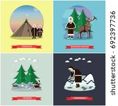 set of wild north posters ... | Shutterstock . vector #692397736