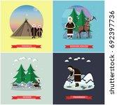 set of wild north posters ... | Shutterstock . vector #692397736