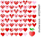 hearts set for wedding and... | Shutterstock .eps vector #69239869