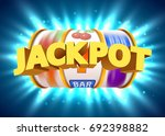 golden slot machine wins the... | Shutterstock .eps vector #692398882