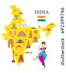 india map and architecture... | Shutterstock .eps vector #692399746