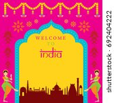 india travel attraction frame ... | Shutterstock .eps vector #692404222