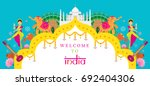 india travel attraction banner  ... | Shutterstock .eps vector #692404306