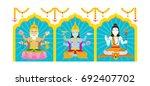 trimurti  brahma  vishnu  shiva ... | Shutterstock .eps vector #692407702
