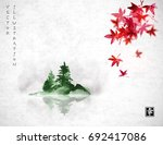 red japanese maple leaves and... | Shutterstock .eps vector #692417086