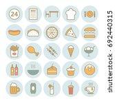 set of 25 fast food outline... | Shutterstock .eps vector #692440315