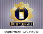 gold emblem with battery icon... | Shutterstock .eps vector #692446042