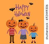 pumpkin family  halloween vector | Shutterstock .eps vector #692449306