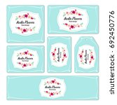 hand drawn cards with floral... | Shutterstock . vector #692450776