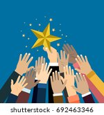 group of hand reaching for the... | Shutterstock .eps vector #692463346