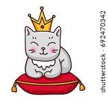 Gray Cat With Crown. Cute...