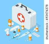 first aid kit medical tools and ... | Shutterstock .eps vector #692476378