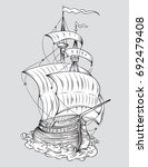 vector drawing of a   tall ship ...   Shutterstock .eps vector #692479408