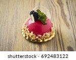 dessert on a beautiful wooden...   Shutterstock . vector #692483122